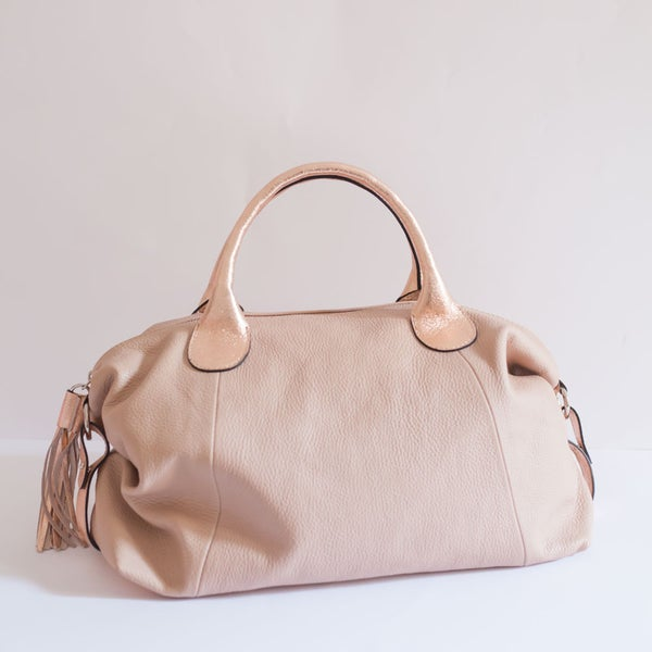 Image of AMY BAG MAXI LAMINATA | Rosa chiaro