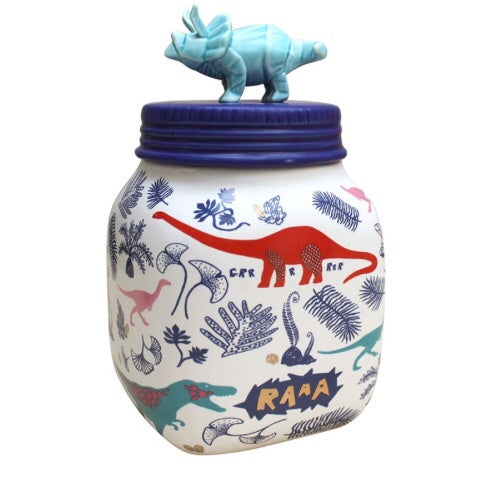 Image of Dinosaur Ceramic Storage Jar