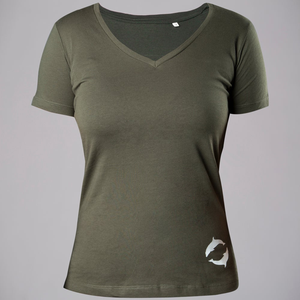 V-NECK TEE WOMAN MILITARY GREEN