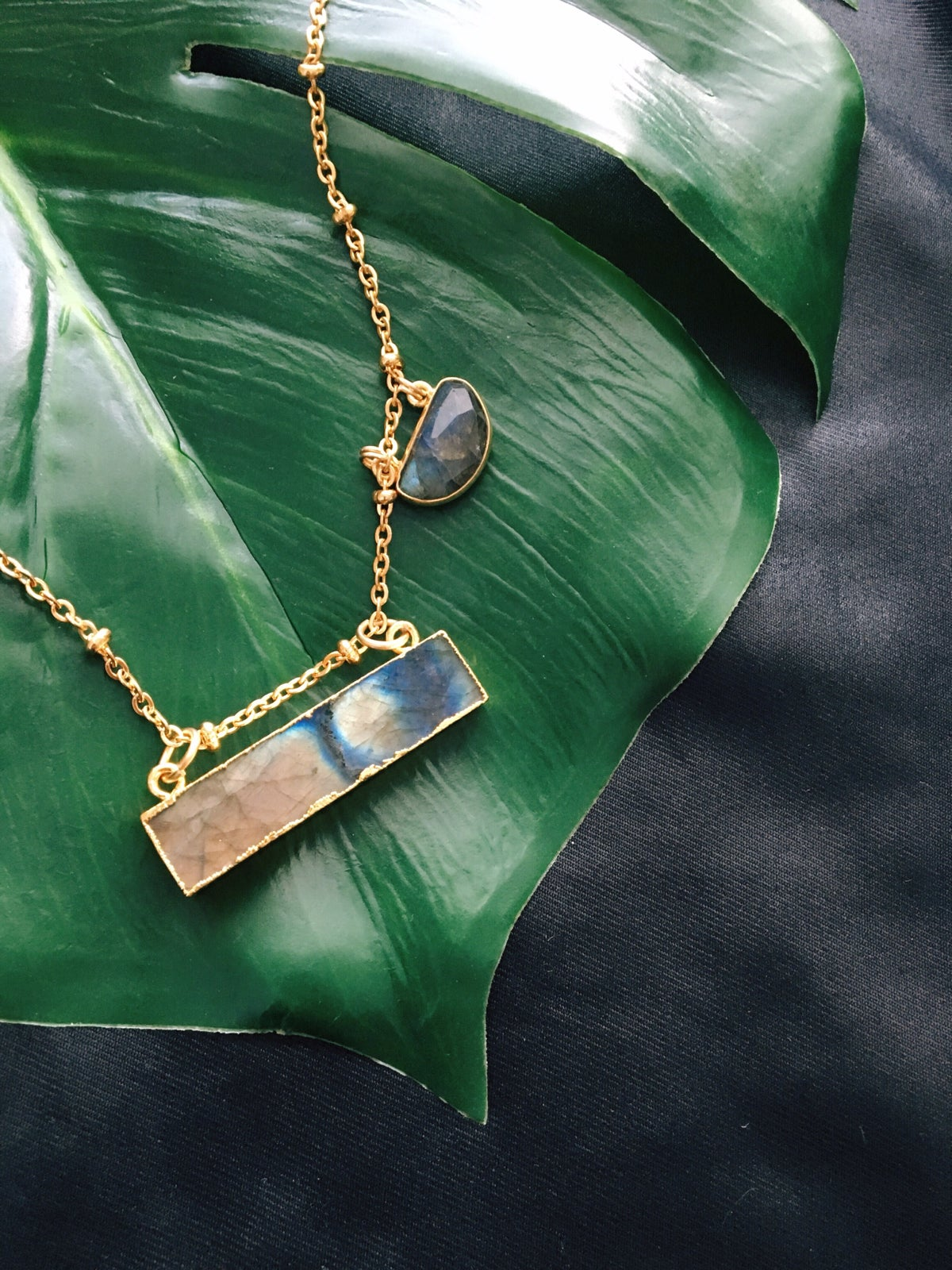 garnet illusions necklace pyrite handcrafted and labradorite products