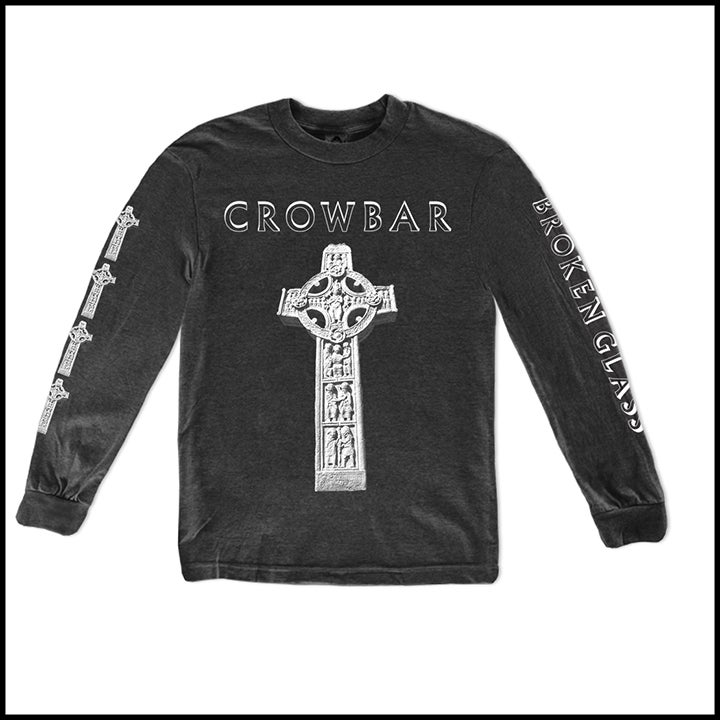 Image of CROWBAR CHARCOAL GRAY CROSS LONG SLEEVE SHIRT