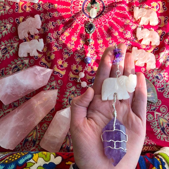 "Image of ""Sweetly Soothing"" Rose Quartz Elephant & Amethyst Wand Wall-Hanging"