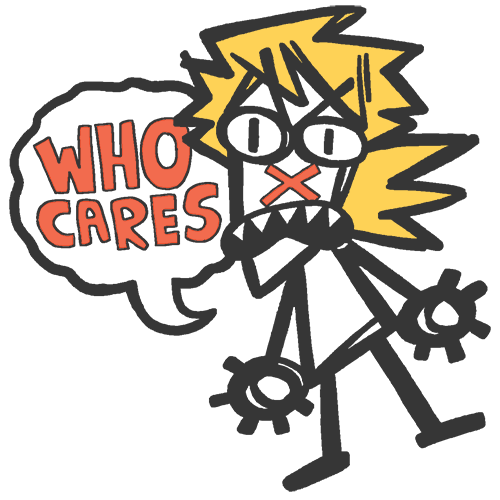 Image of WHO CARES? enamel pin