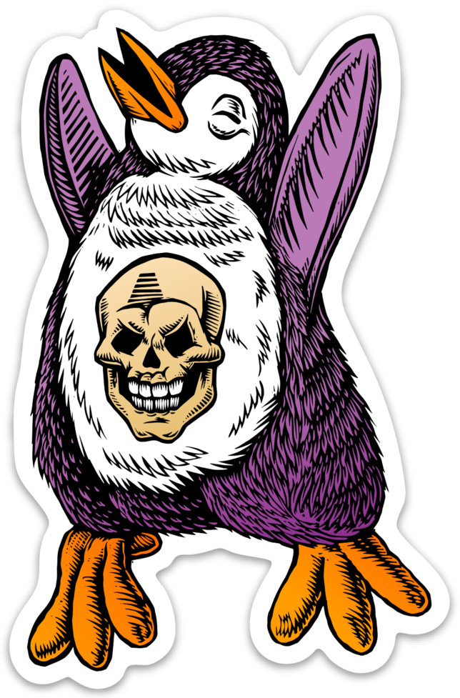 Image of Skull Penguin Sticker