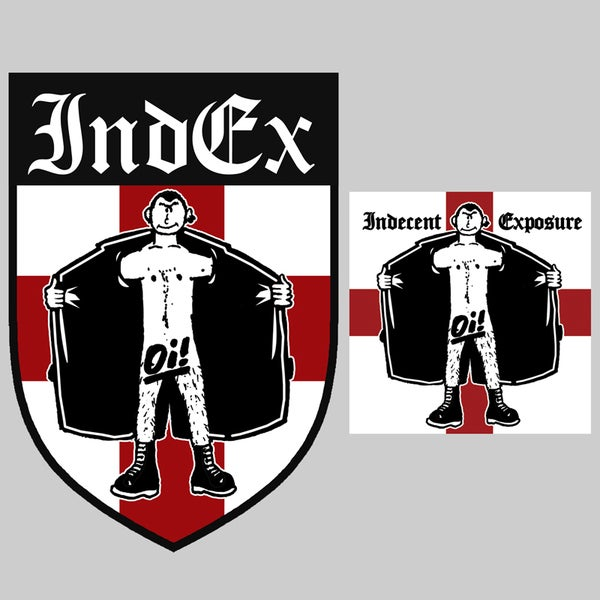 Image of Indecent Exposure Embroidered Patch & Sticker Combo
