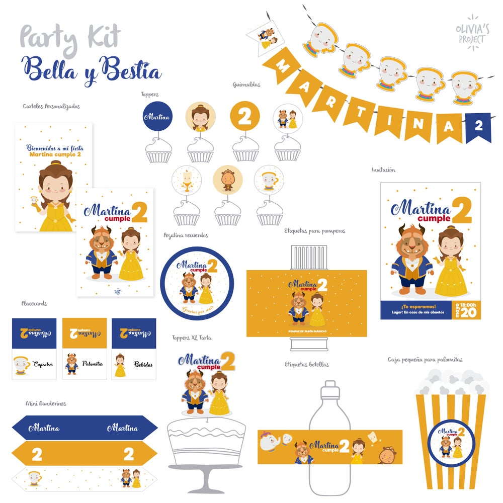 Image of Party Kit Bella y Bestia impreso
