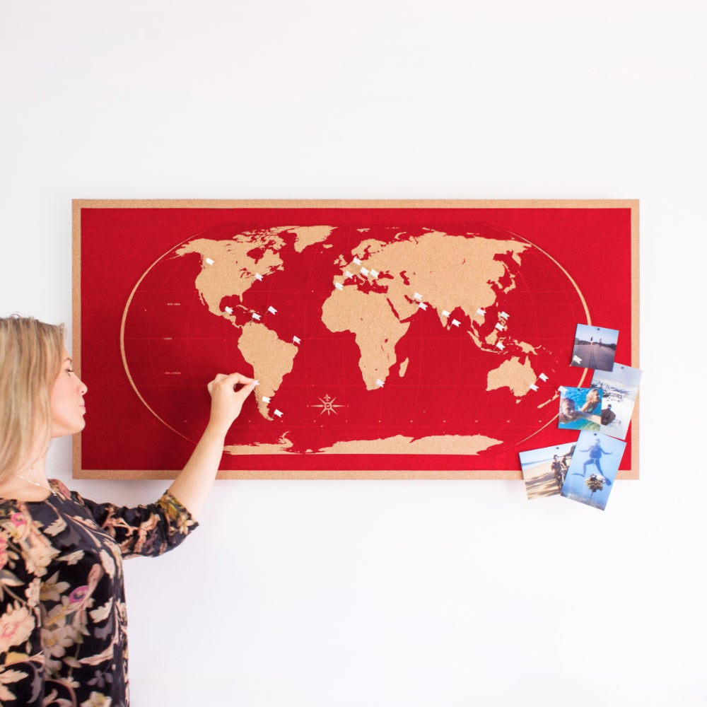 Hand made hand printed world map pinboards skinny red world map image of skinny red world map gumiabroncs Choice Image