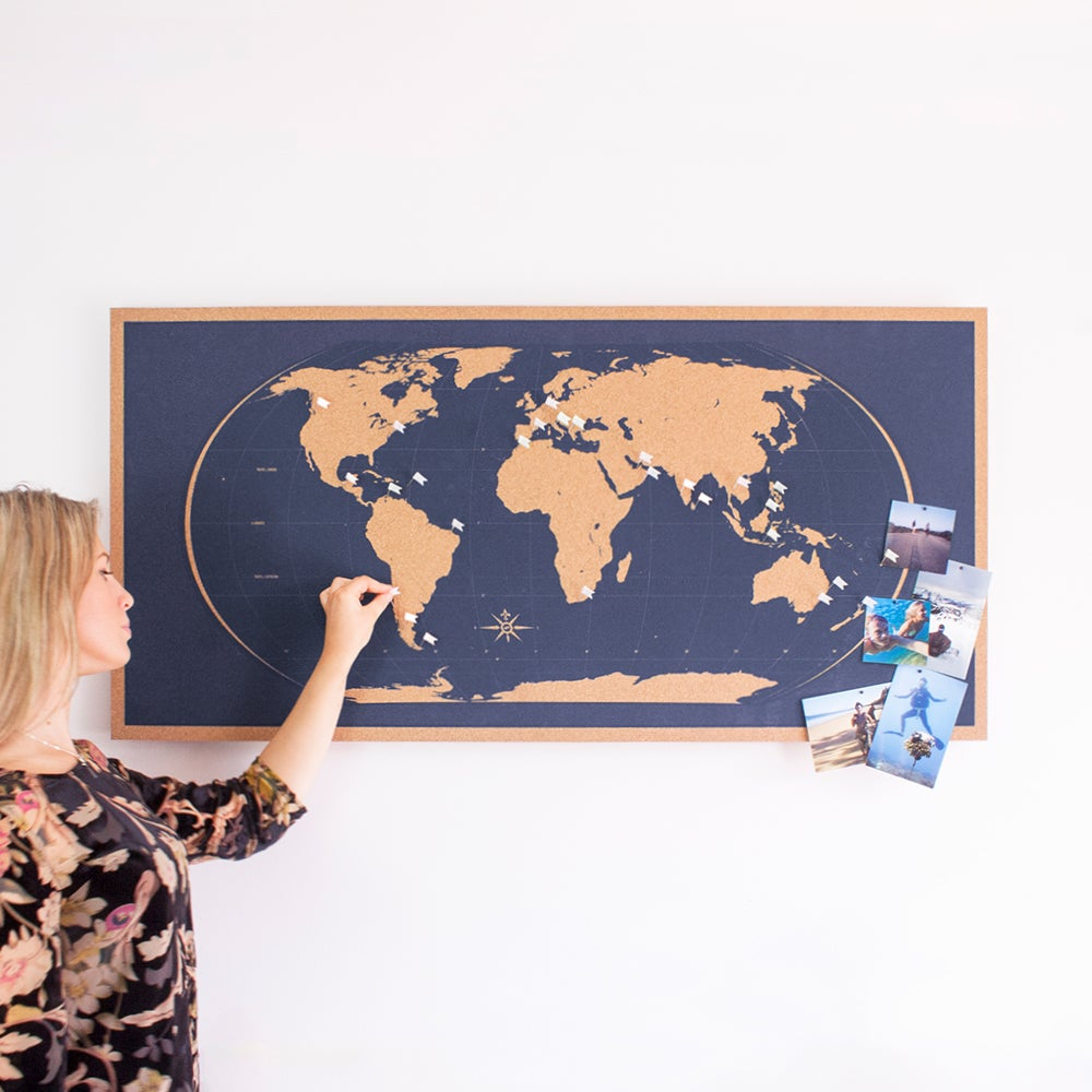 Image of Skinny Navy Blue World Map