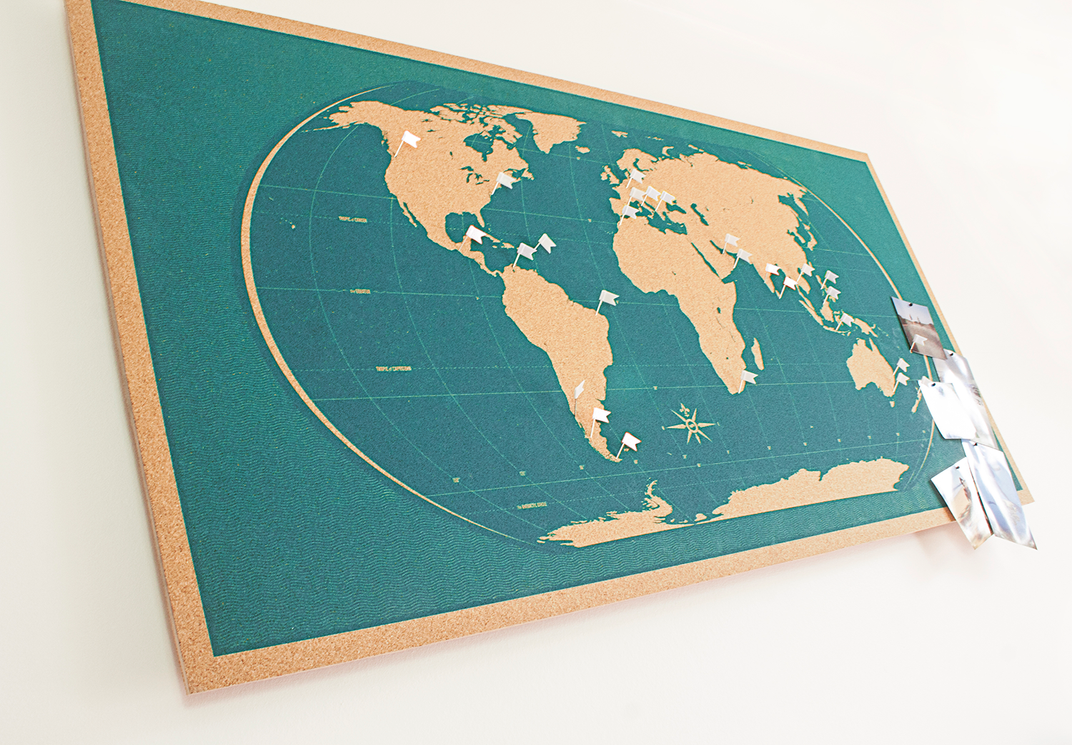 Image of Skinny Teal World Map