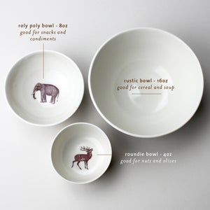 Image of roly poly bowl with rabbit, <br />rose