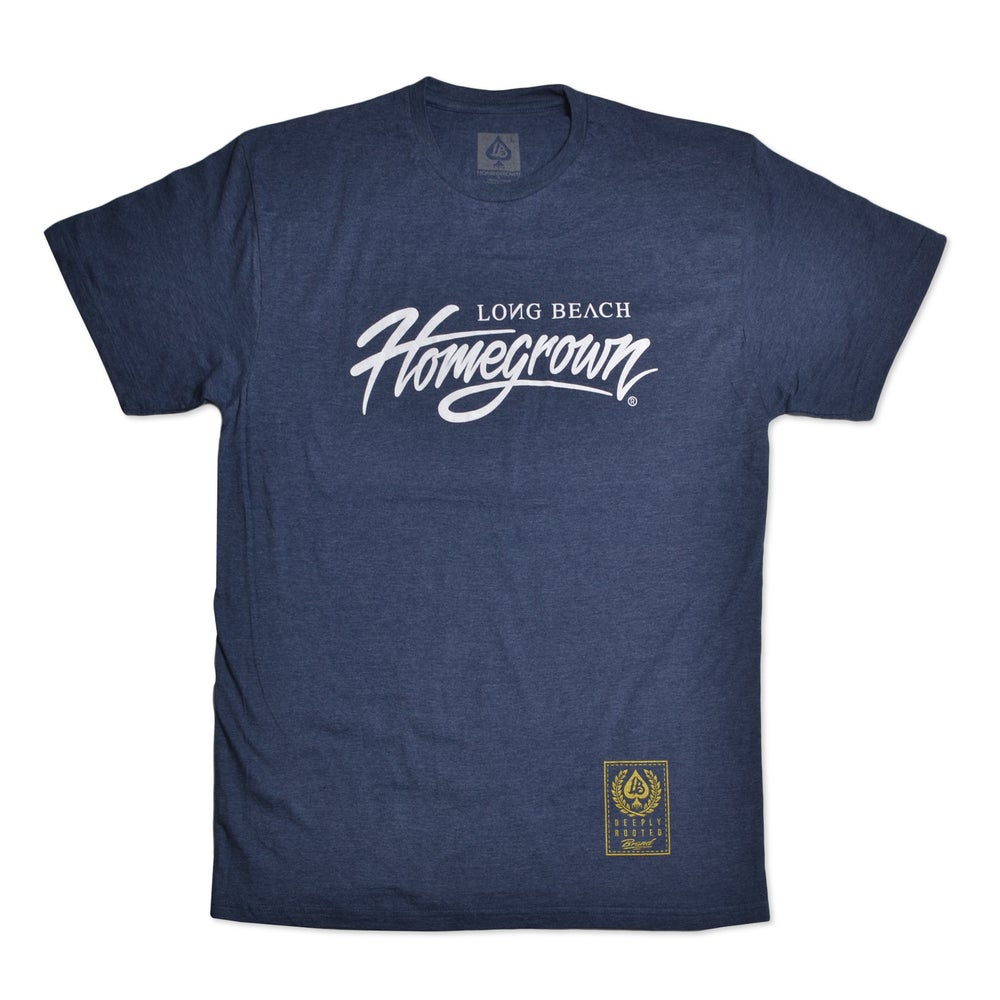 Image of HOMEGROWN SCRIPT NAVY HEATHER MENS PREIMUM TEE