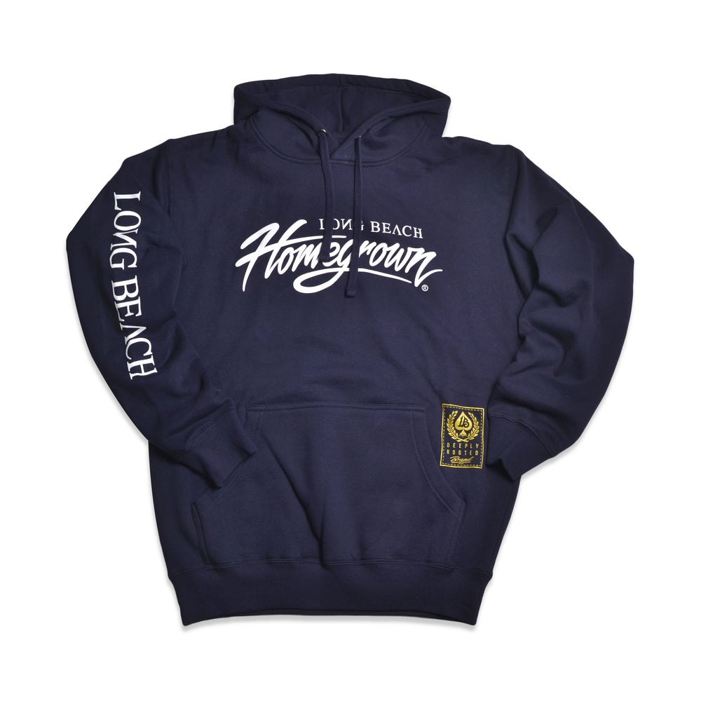 Image of HOMEGROWN SCRIPT NAVY MENS HOODIE
