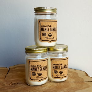 Image of Man Candle - Popcorn Scent - Manly Natural Soy Candle Hand Poured with Cotton Wick - Masculine Scent