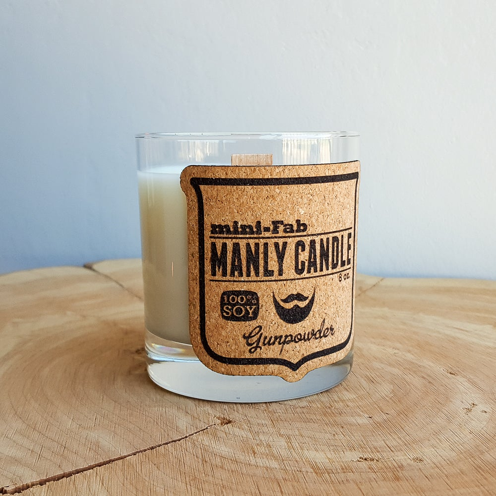 Image of Whiskey Glass Man Candle - Gunpowder Scent - Manly Natural Soy Candle Hand Poured with Wood Wick