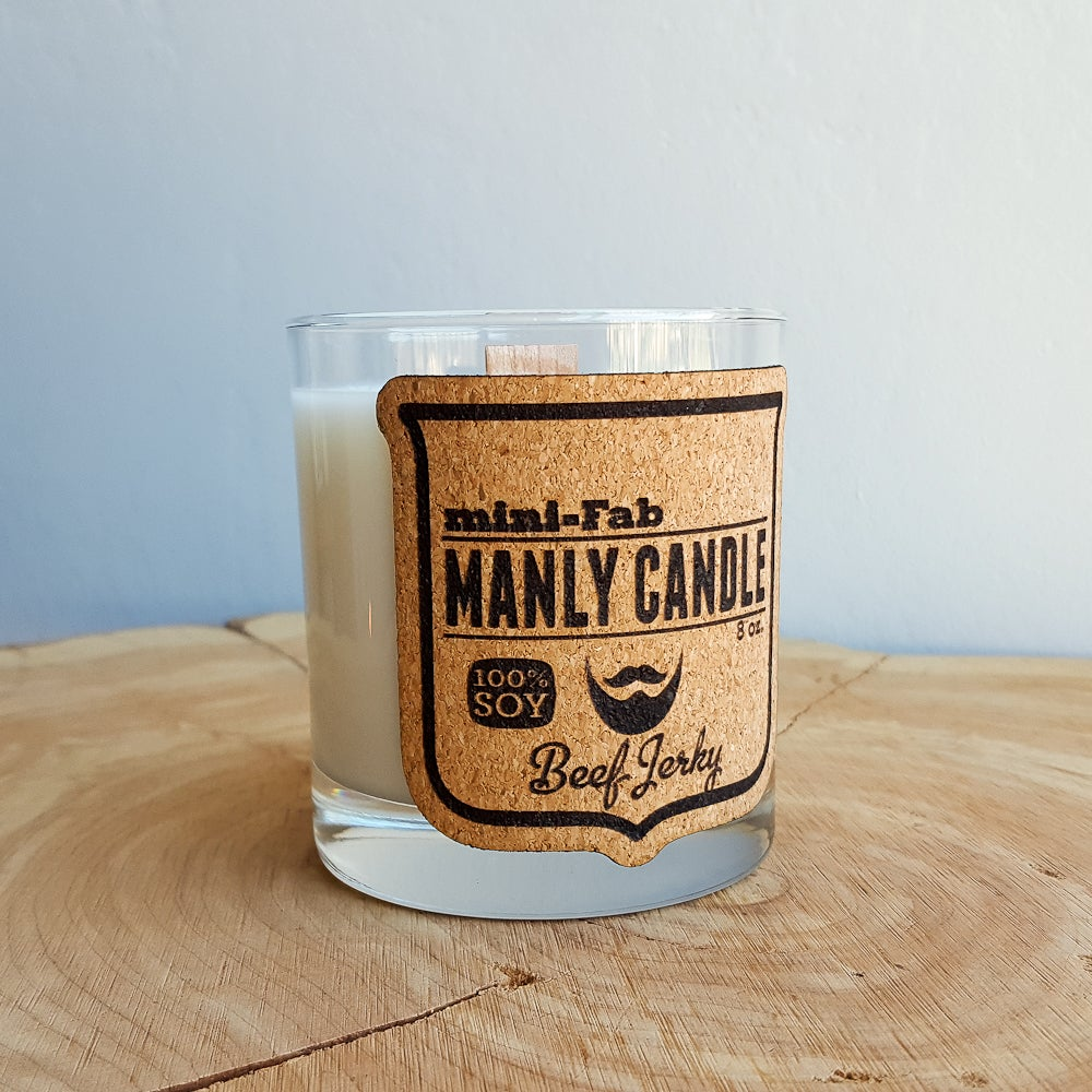 Whiskey Glass Man Candle Beef Jerky Scent Manly