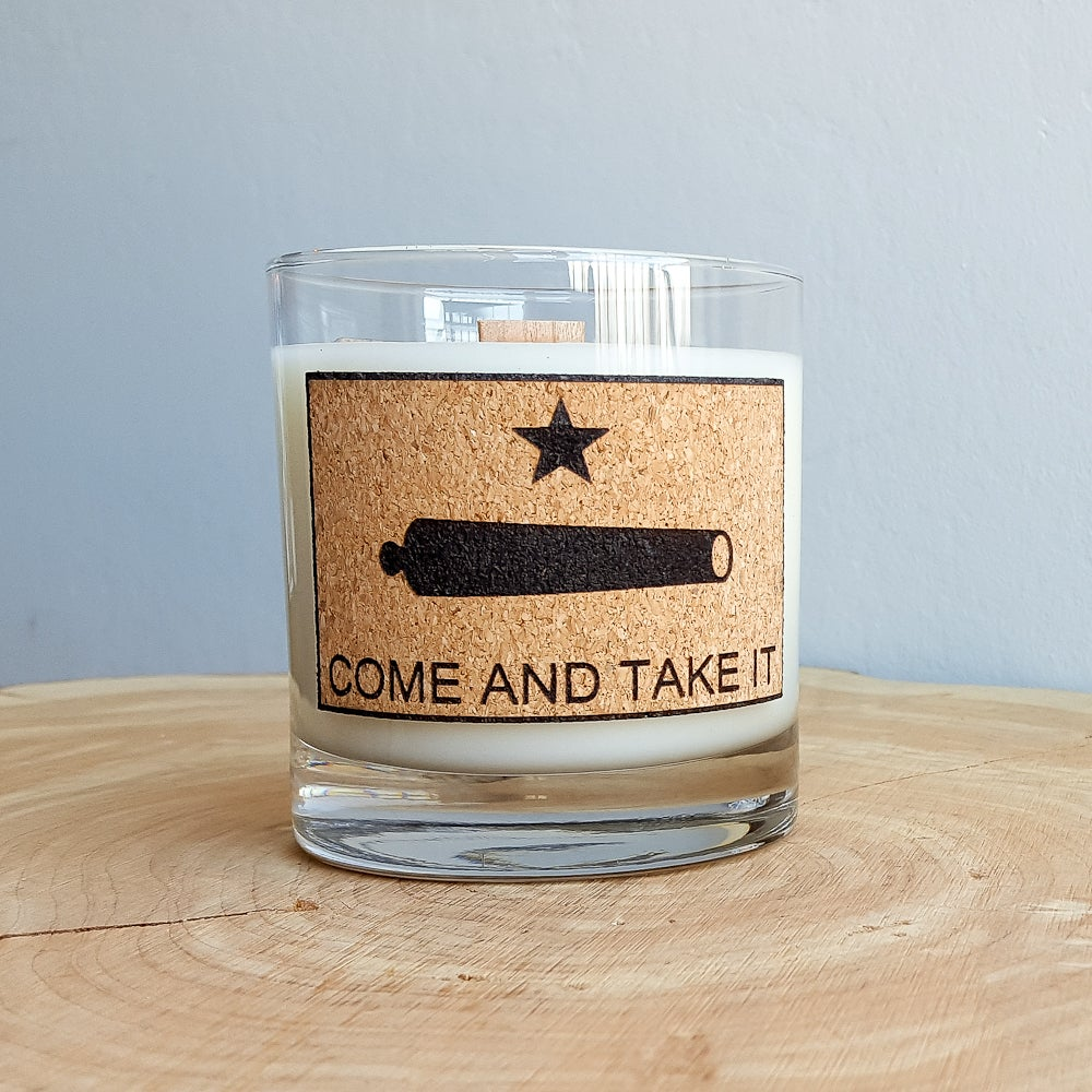 Whiskey Glass Man Candle Quot Come And Take It Quot Gunpowder