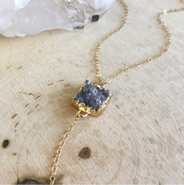 Image of One-of-a-kind druzy crystal pendant y-necklace
