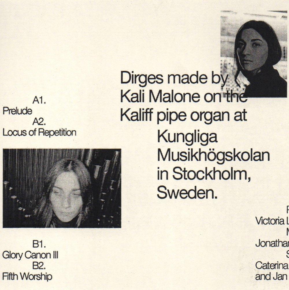 """Image of Kali Malone """"Organ Dirges 2016-2017"""" CS"""