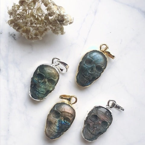 Image of The Labradorite Skull Necklace