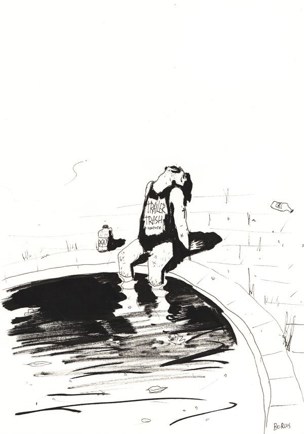 Image of Sunny Heartbreak at the dirty pool - original drawing