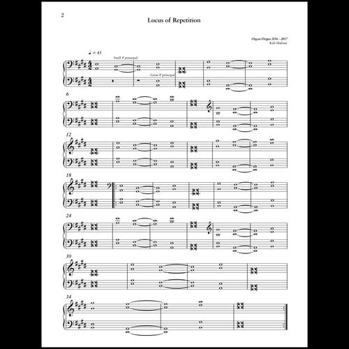 """Image of Kali Malone """"Organ Dirges 2016 - 2017"""" printed score"""
