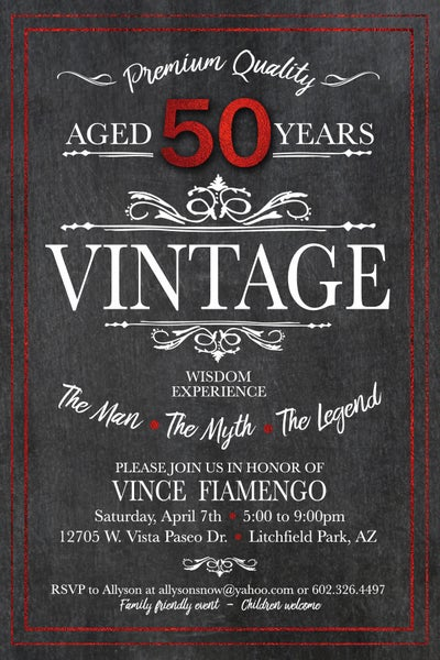 Image of Vintage 50th Birthday Invitation