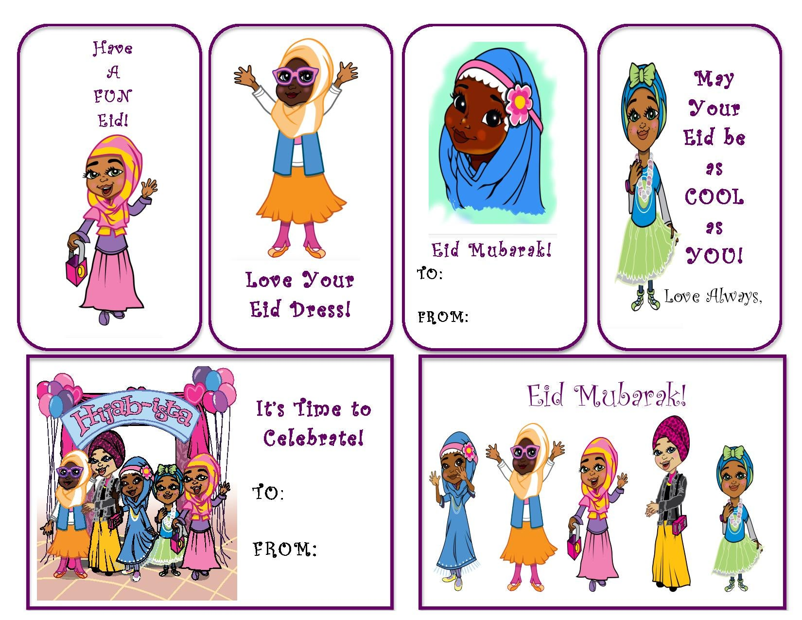 photograph relating to Eid Cards Printable titled Hijab~ista Eid Printable Playing cards