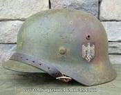 Image of WWII German M-1935 Helmet & Liner. Singe Decal HEER Camo Pattern.