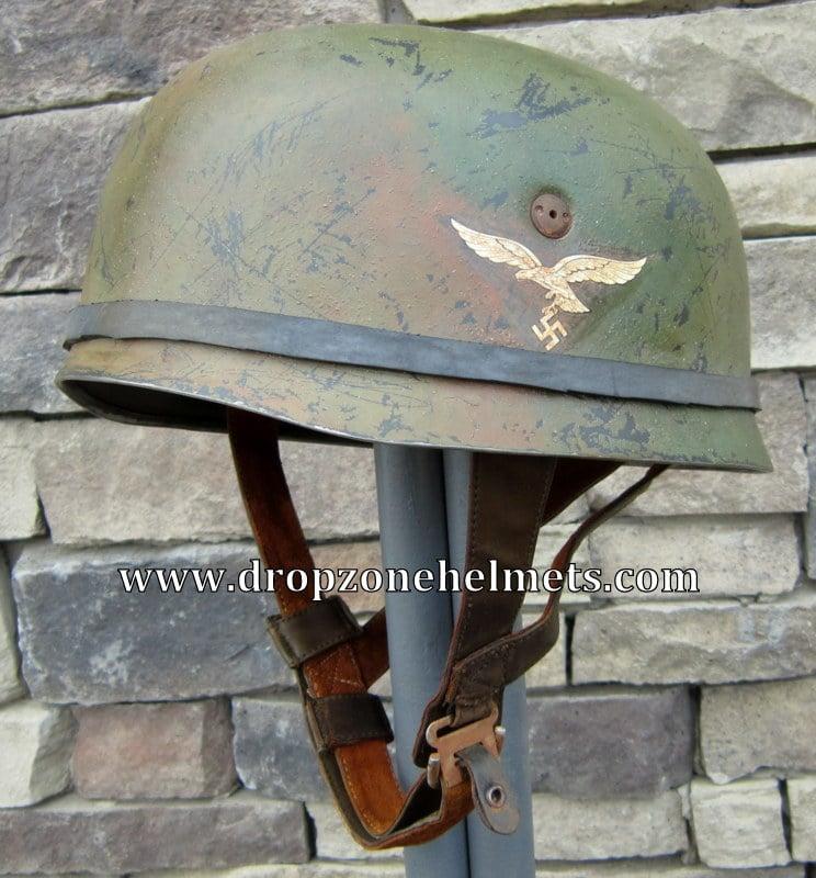 Image of WWII German M-1938 FJ Helmet & Liner. Fallschirmjäger SD Band & Goggles
