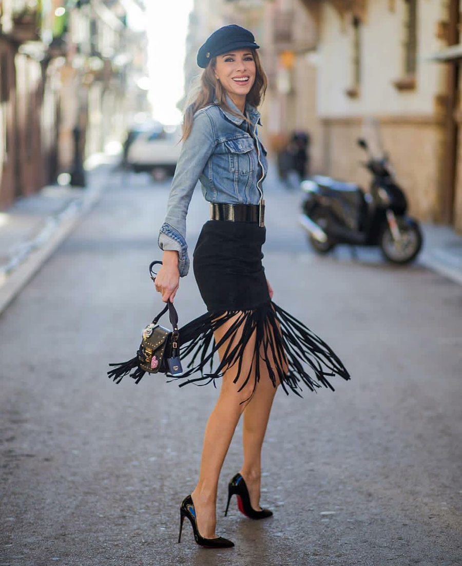 Image of Faux Leather Fring Skirt