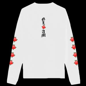 Image of SOLD OUT | WHITE GLAM ROSES LONG SLEEVE T SHIRT | EXCLUSIVE RELEASE