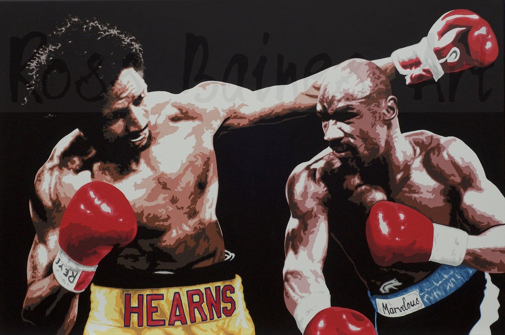 Image of HAGLER vs HEARNS - Limited edtion 3x2ft canvas print