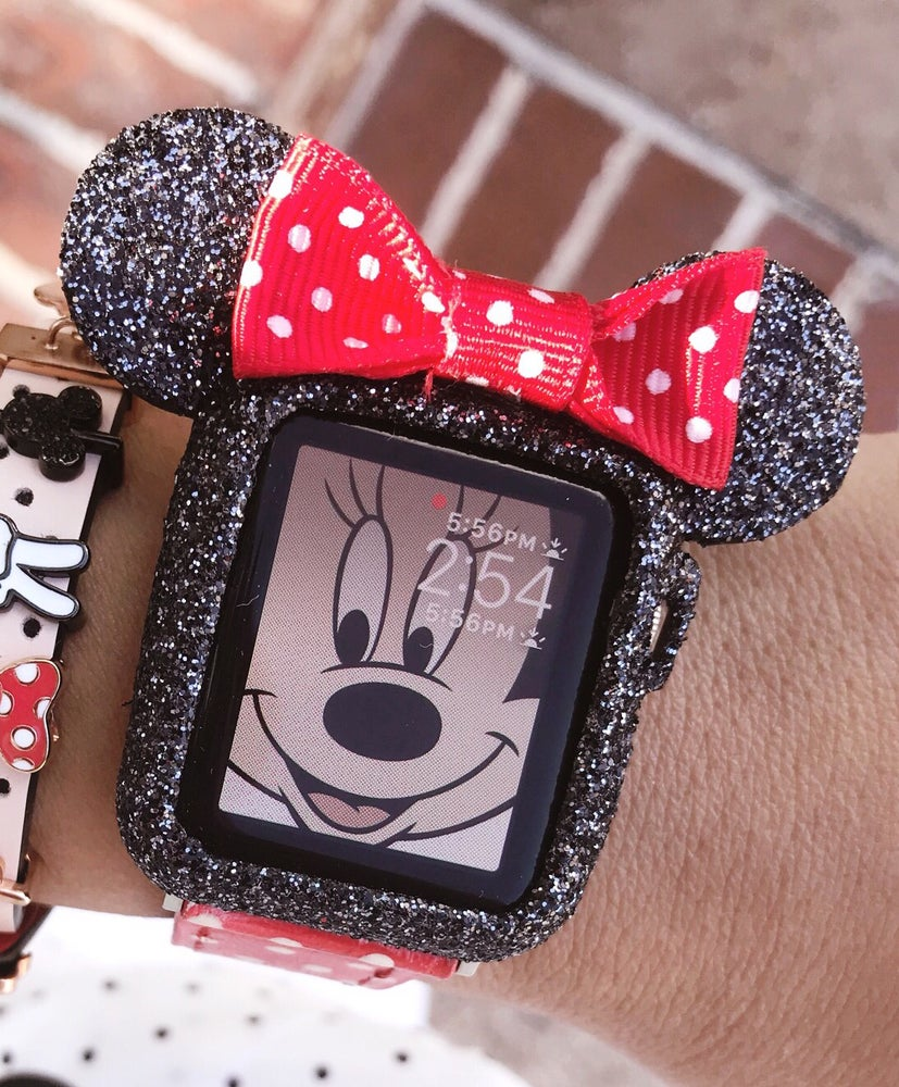 reputable site cee49 7cc75 Swarovski Dust Black glitter Mickey Mouse ears apple watch case size 38mm