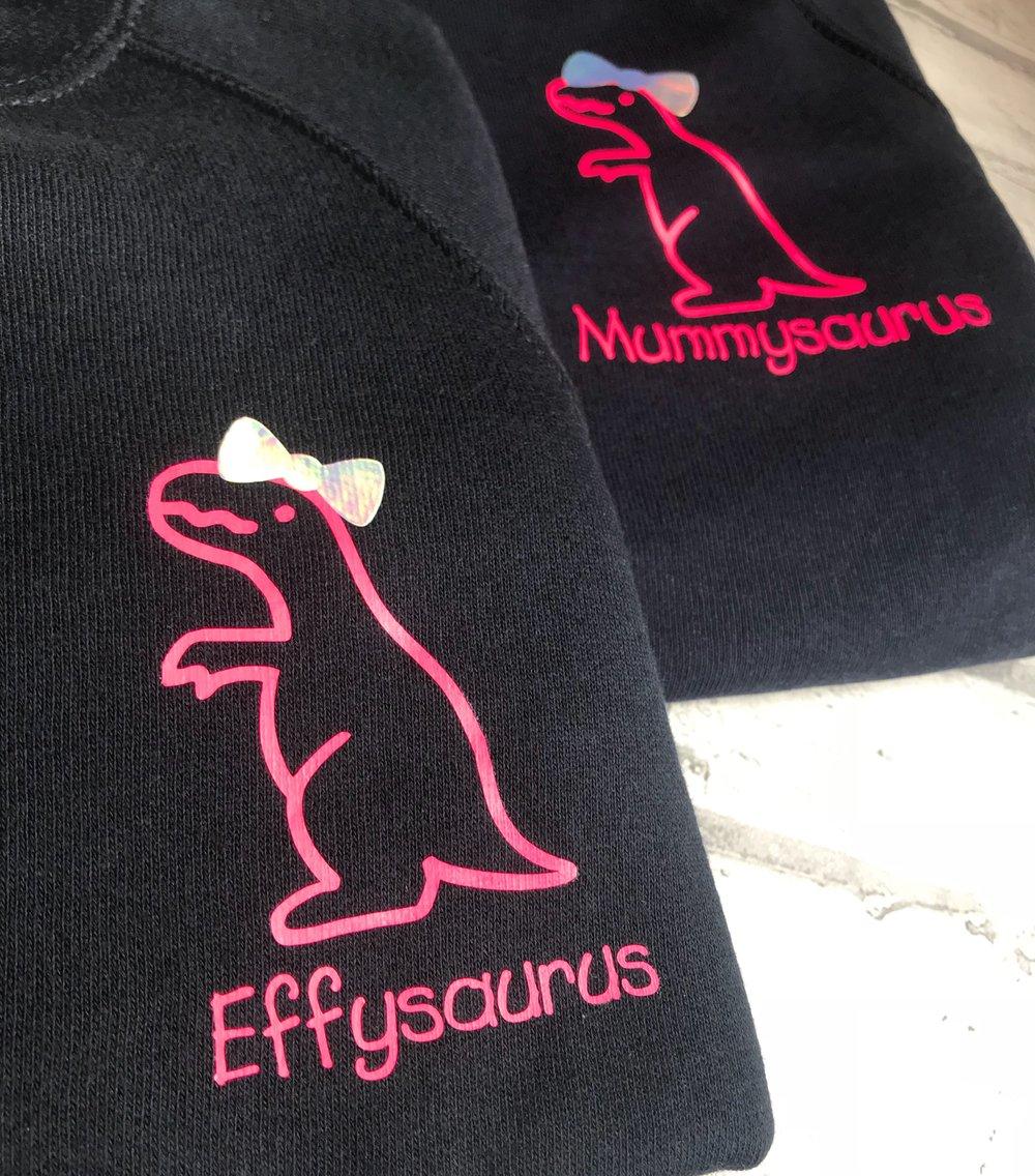 Image of Mamasaurus  and kidsaurus sweaters
