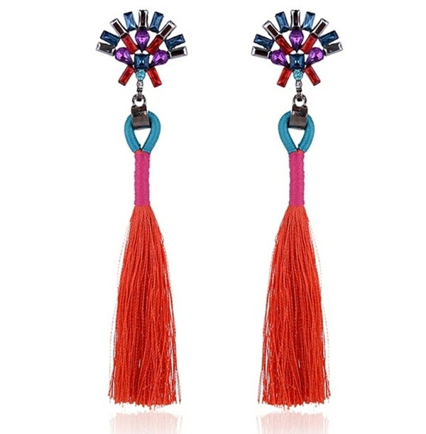 Image of Boho Jewel Tassel Earrings