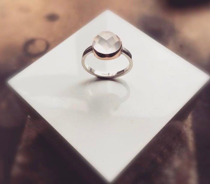 Image of Silver and 9ct Rose Gold Rose Quartz Ring