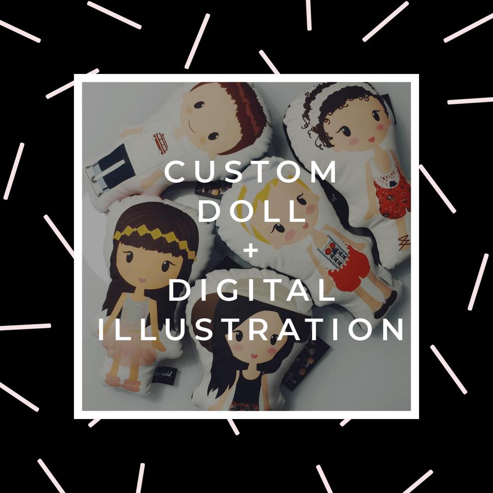 "Image of 13"" Custom Doll + Digital Illustration"
