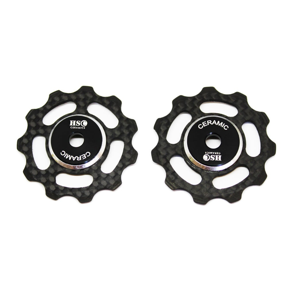 Image of Ceramic Jockey Wheel Set - 11T Carbon Fibre Wheels