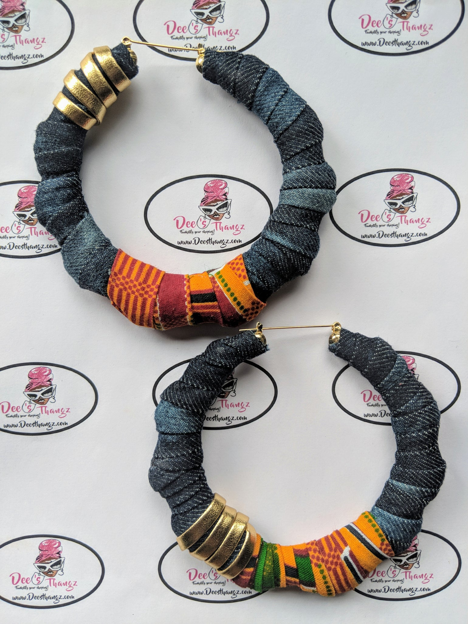 "Image of ""Desert"" Ankara, Denim & Leather Hoops"