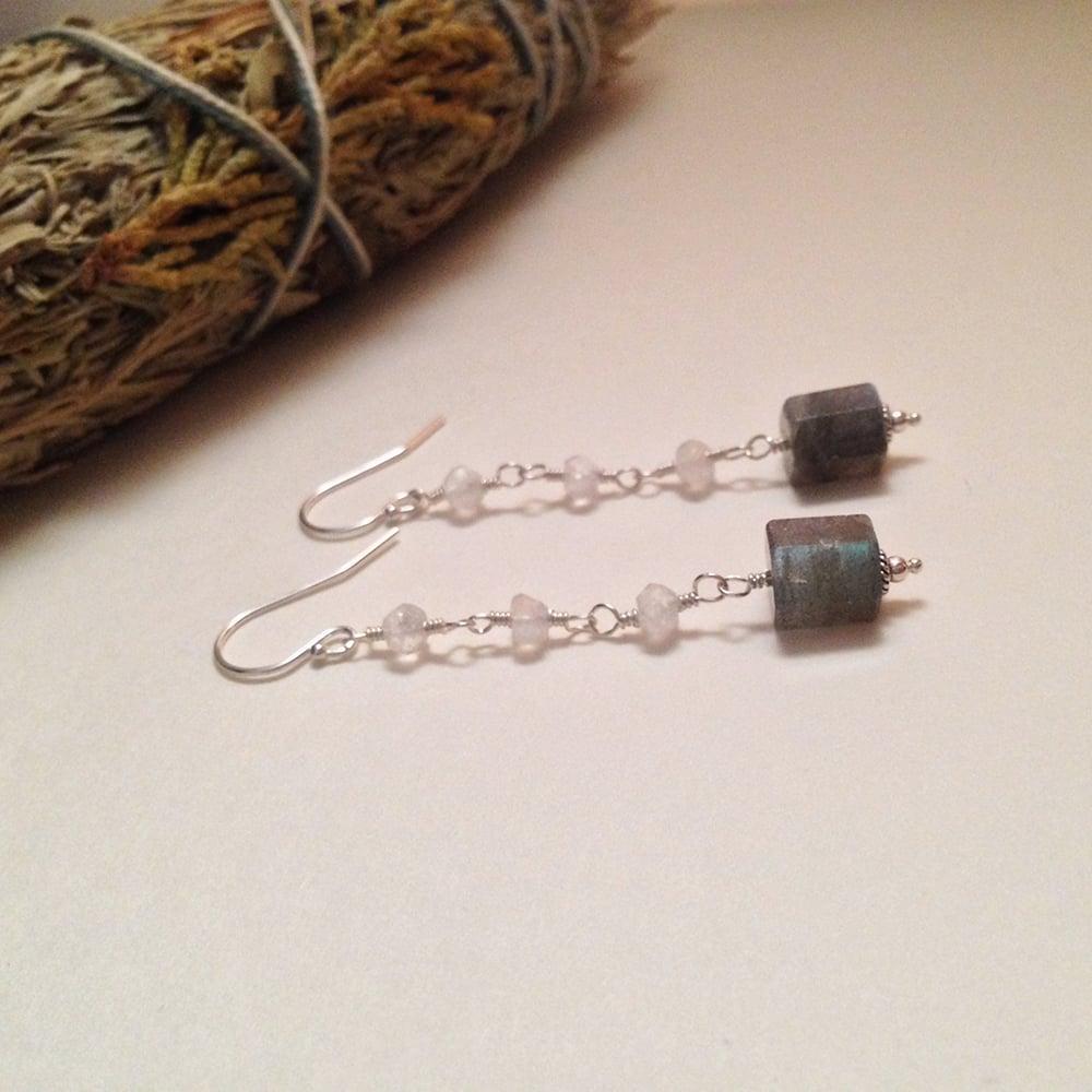Image of The Moon Labradorite Rainbow Moonstone Sterling Silver Gemstone Earrings   Handmade Witch Tarot