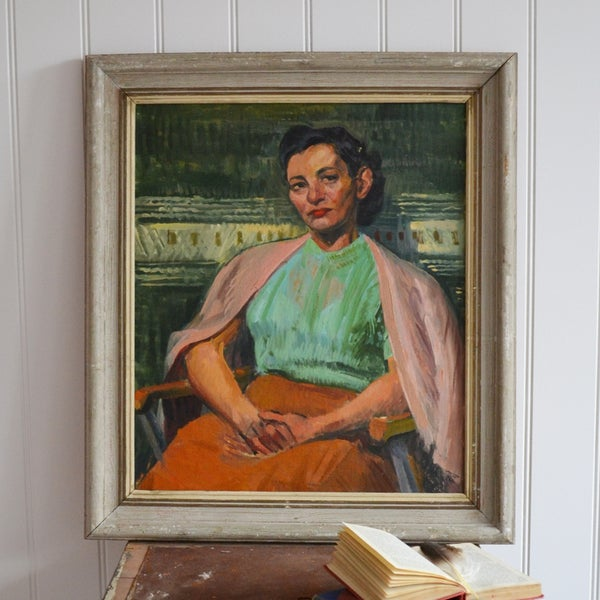 Image of Mid-century, Oil Painting Portrait of a Lady 'Honoré'