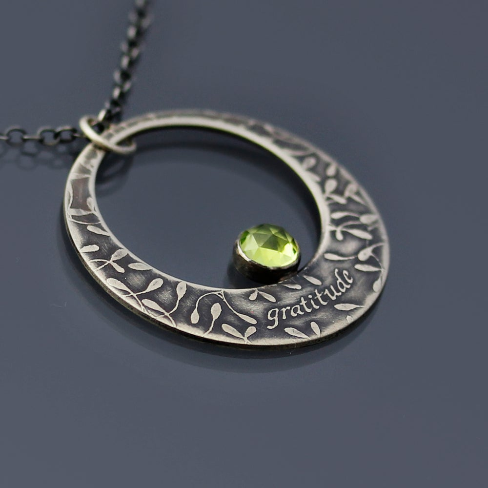 Image of Sterling Silver Gratitude Necklace with Peridot Cabochon