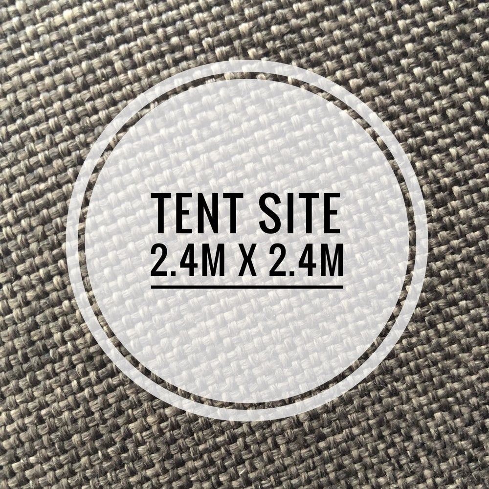 Image of 2.4 by 2.4 metre tent space September 1st