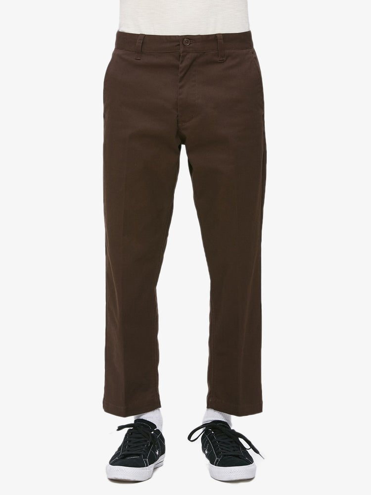 Image of OBEY - STRAGGLER FLOODED PANTS (DARK BROWN)