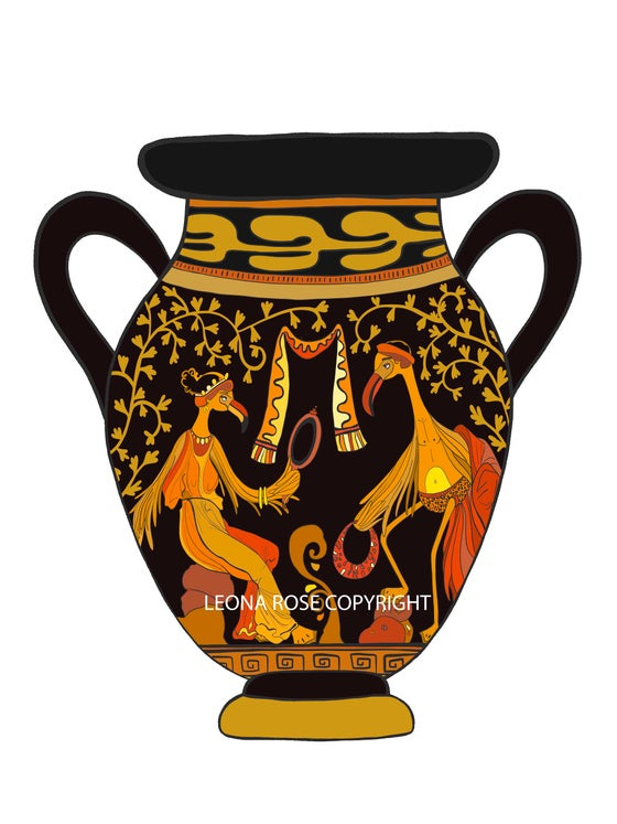 Image of VASE ANTIQUE AUX FLAMANTS AMANTS