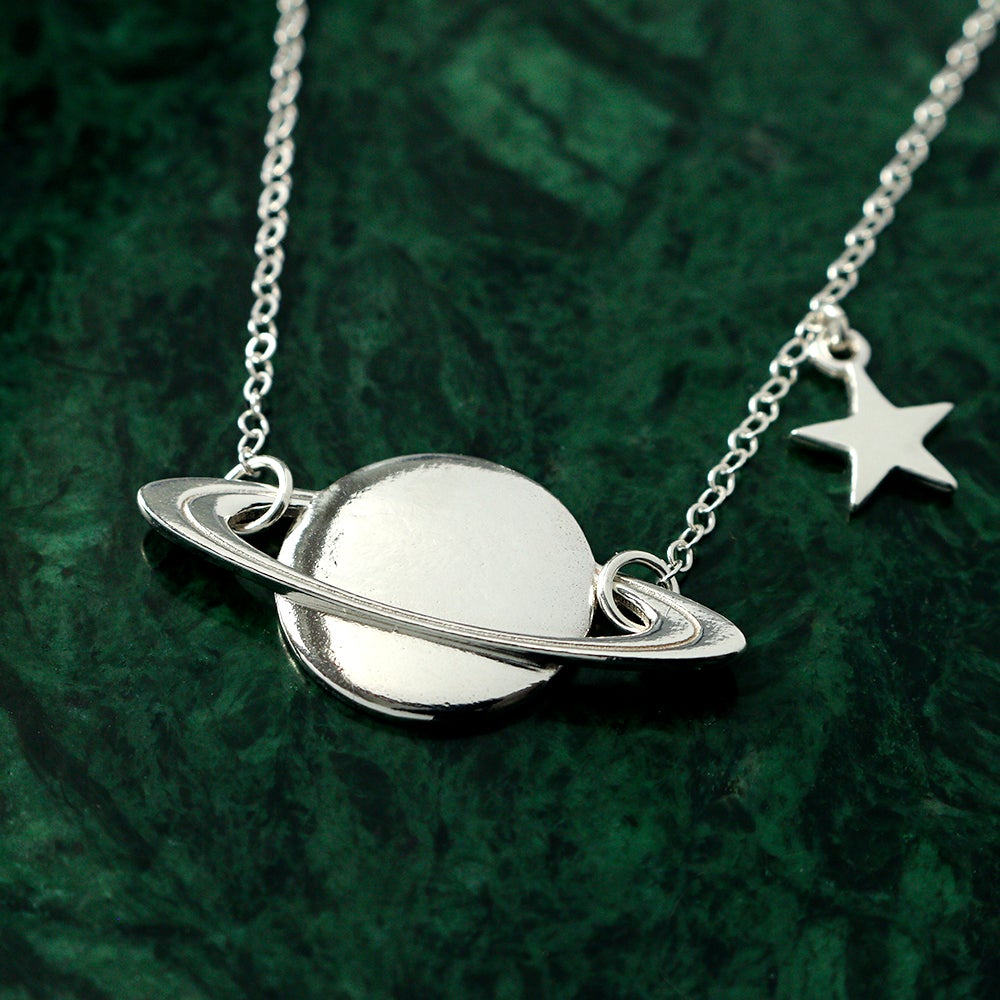 Image of Saturn & Star Necklace (Brass or Silver)