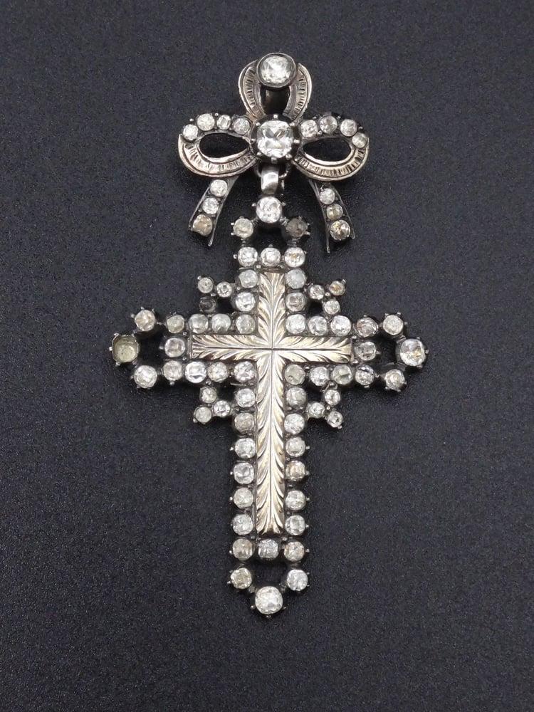 Image of Superbe croix d'Yvetot en argent massif, or et pierres du Rhin - Normandie XIXème