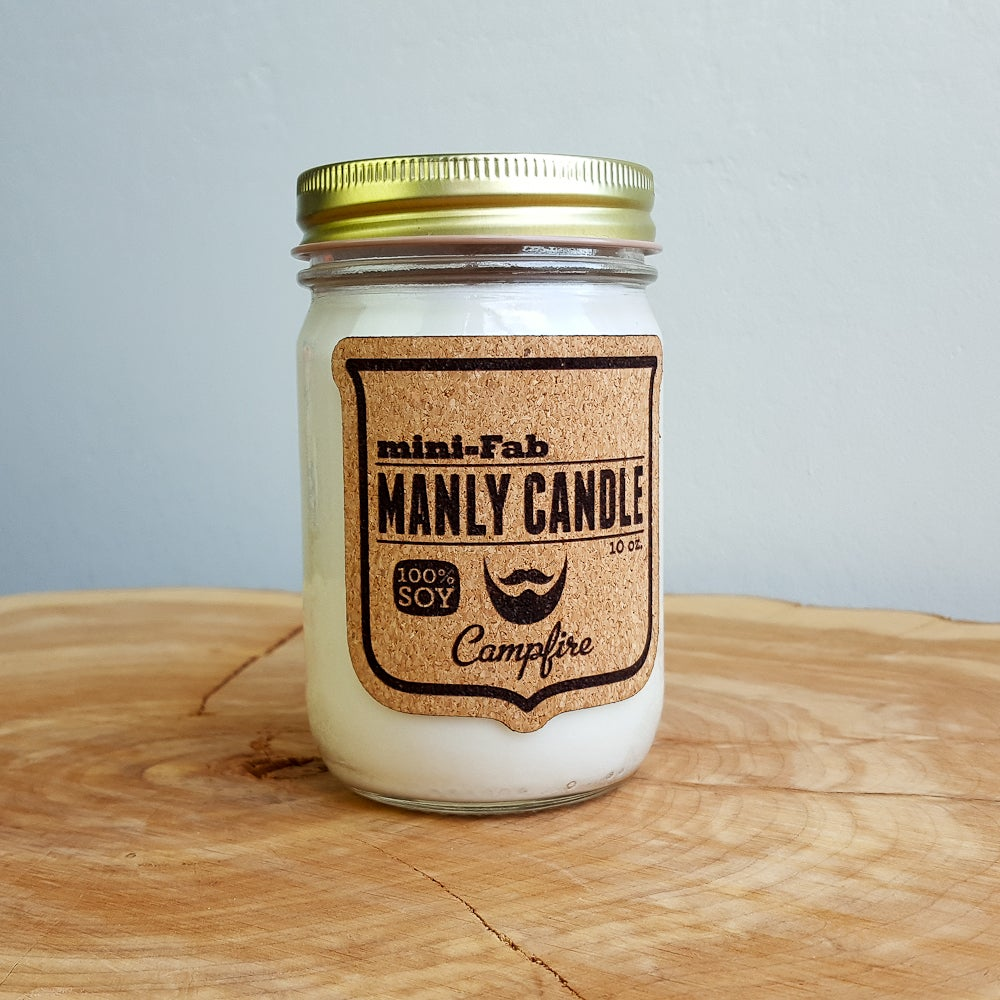 Image of Manly Candle - Campfire Scented Natural Soy Man Candle Hand Poured with Cotton Wick