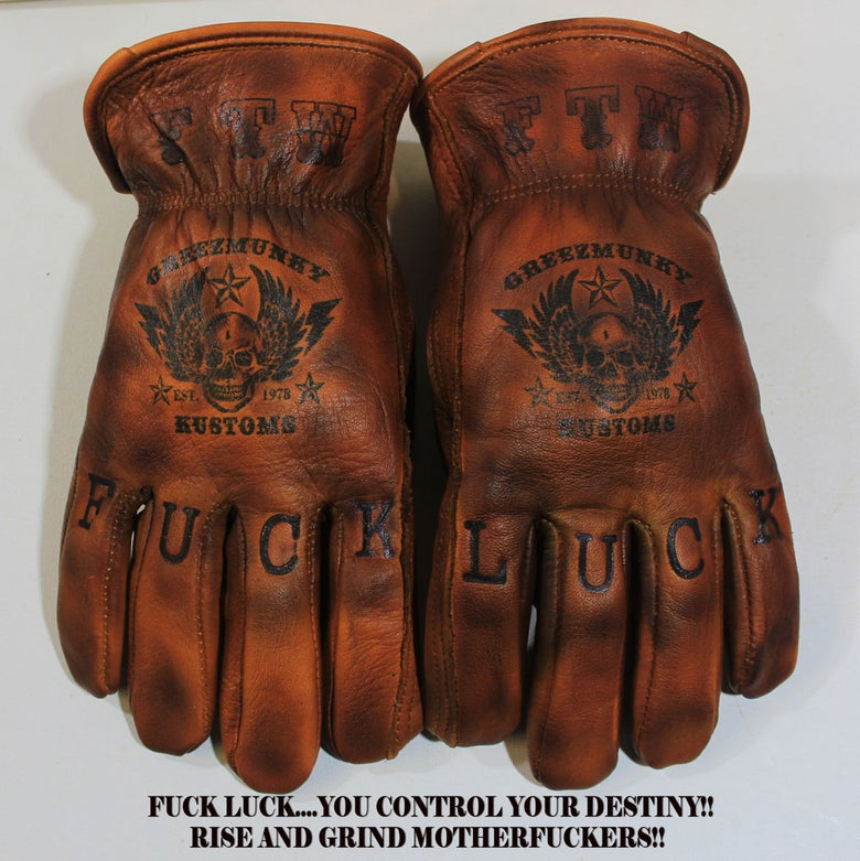 "Image of Greezmunky Kustoms ""Fuck Luck"" Gloves #6"