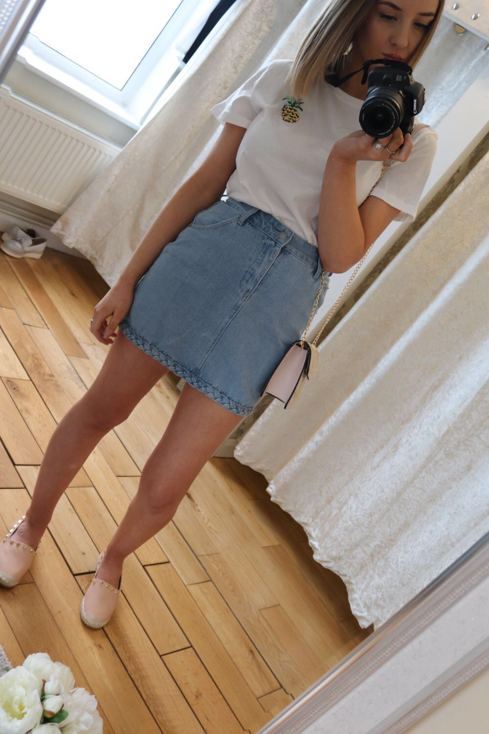 Image of Plait denim skirt